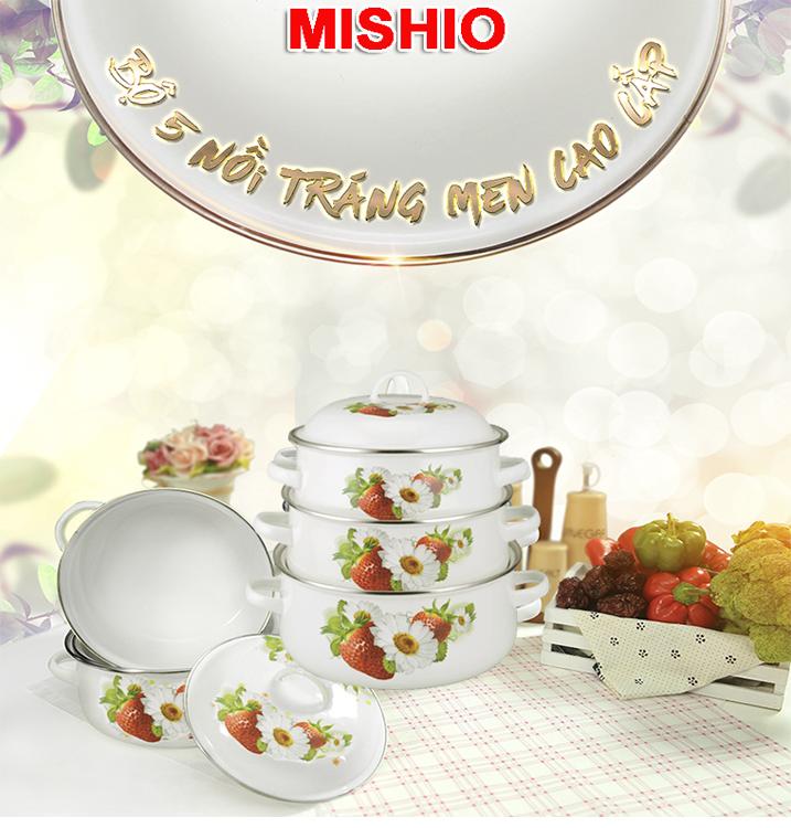 Bộ 05 nồi tráng men cao cấp Mishio MK5G (145006)