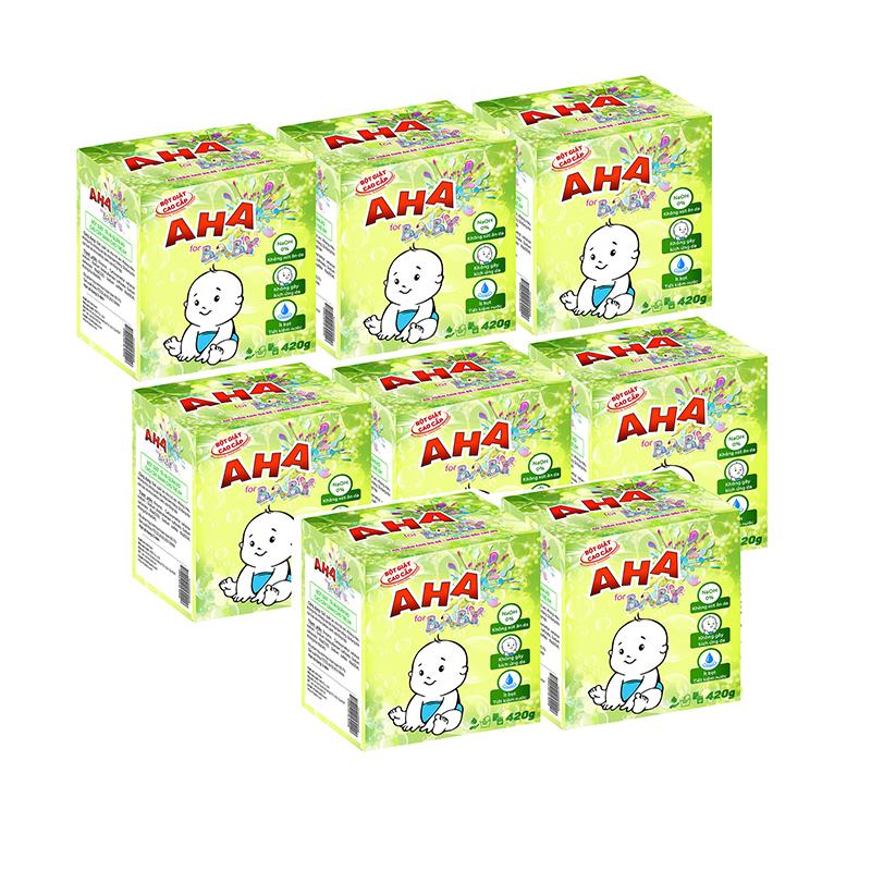 Bộ 8 bột giặt cao cấp AHA baby 420g