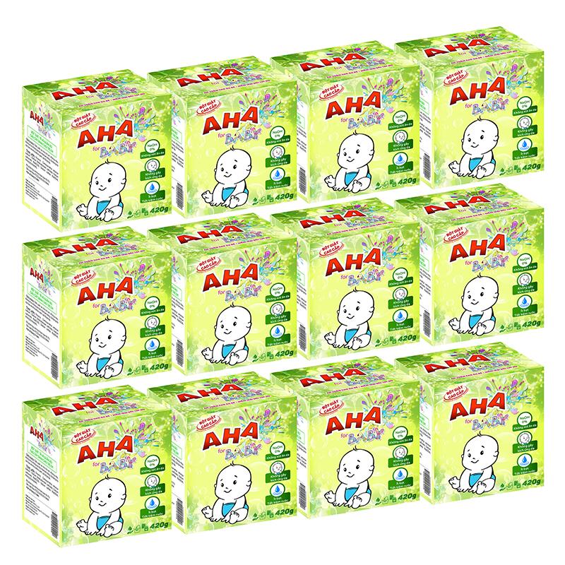 Bộ 12 bột giặt cao cấp AHA baby 420g