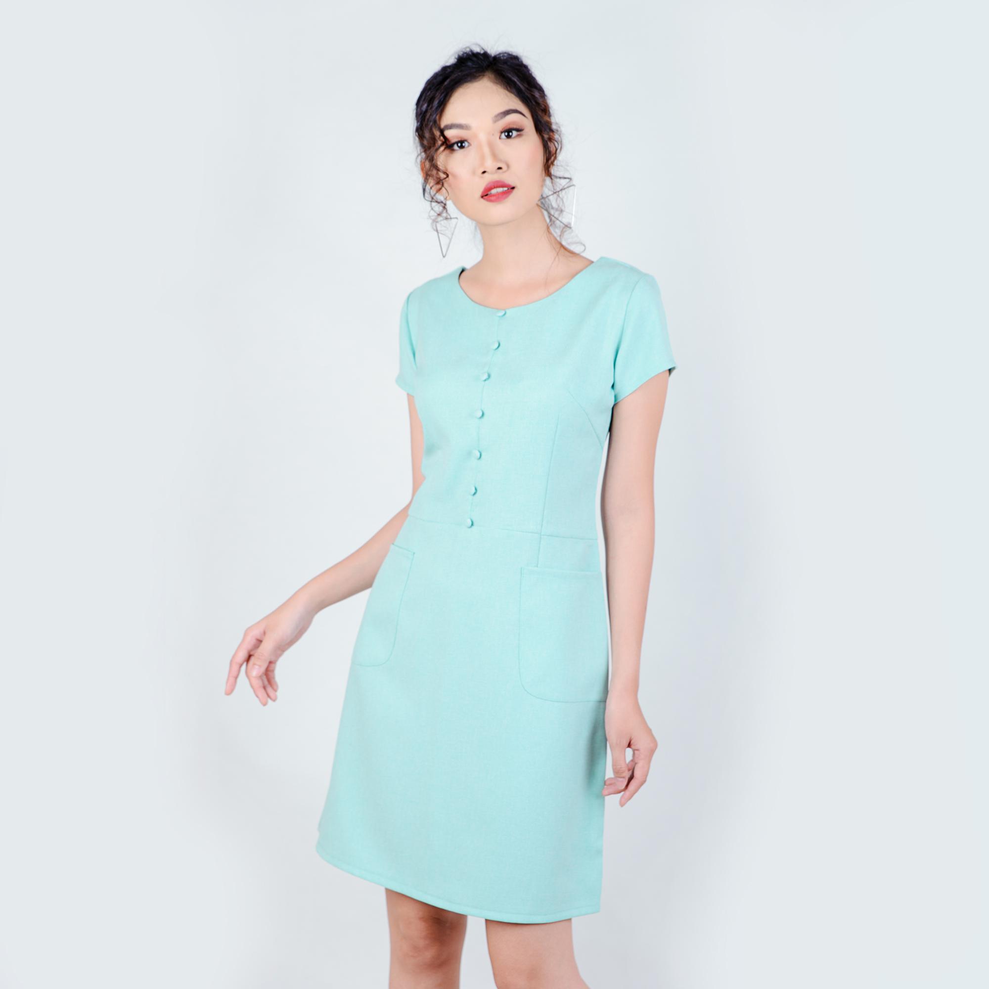 Đầm công sở phối nút thời trang Eden d183 (Xanh ngọc)