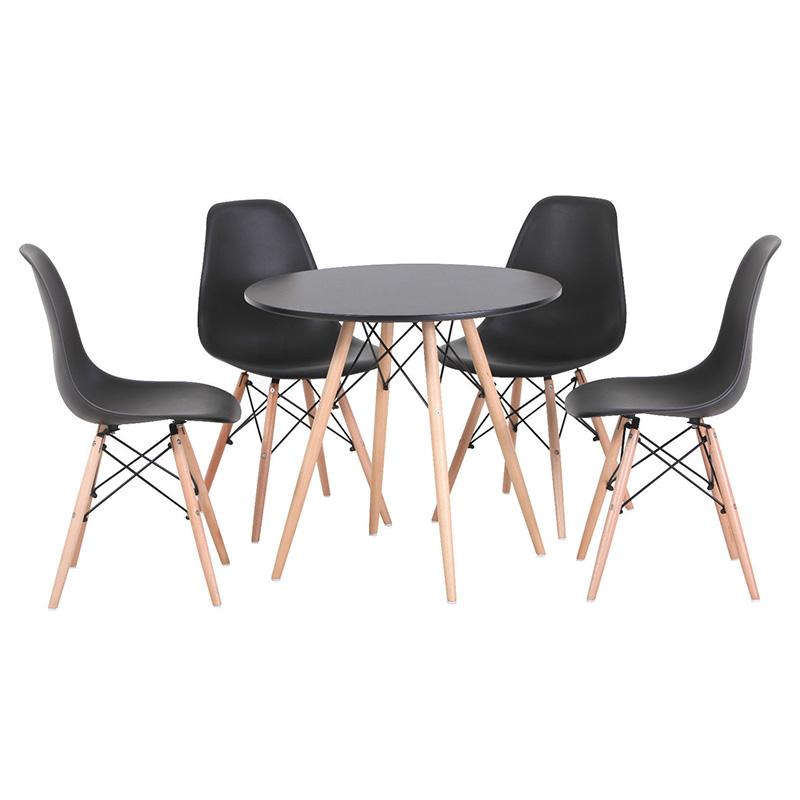Bộ bàn tròn Eiffel đen 4 ghế Eames - IBIE