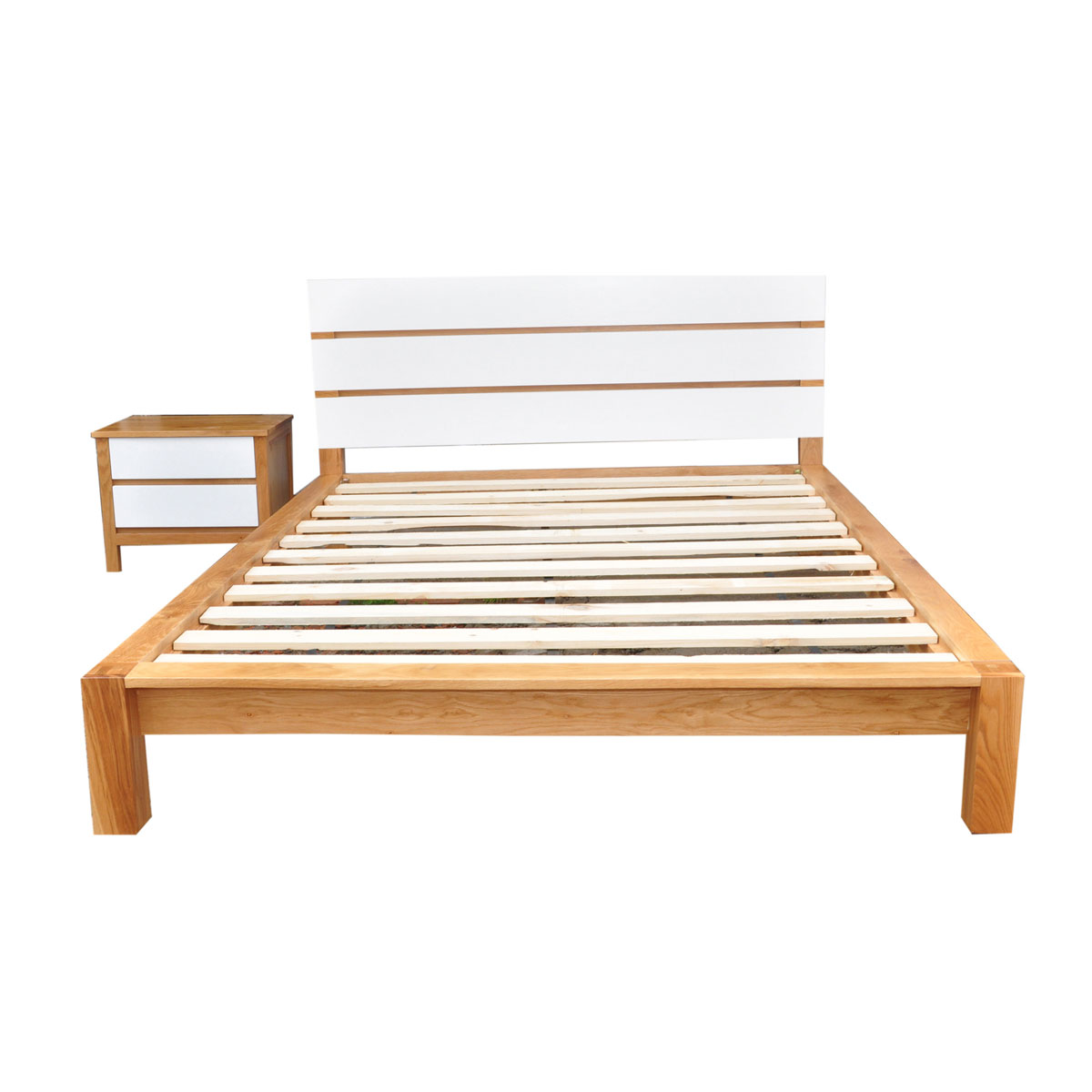Giường đôi Ocean gỗ sồi 2m trắng - IBIE