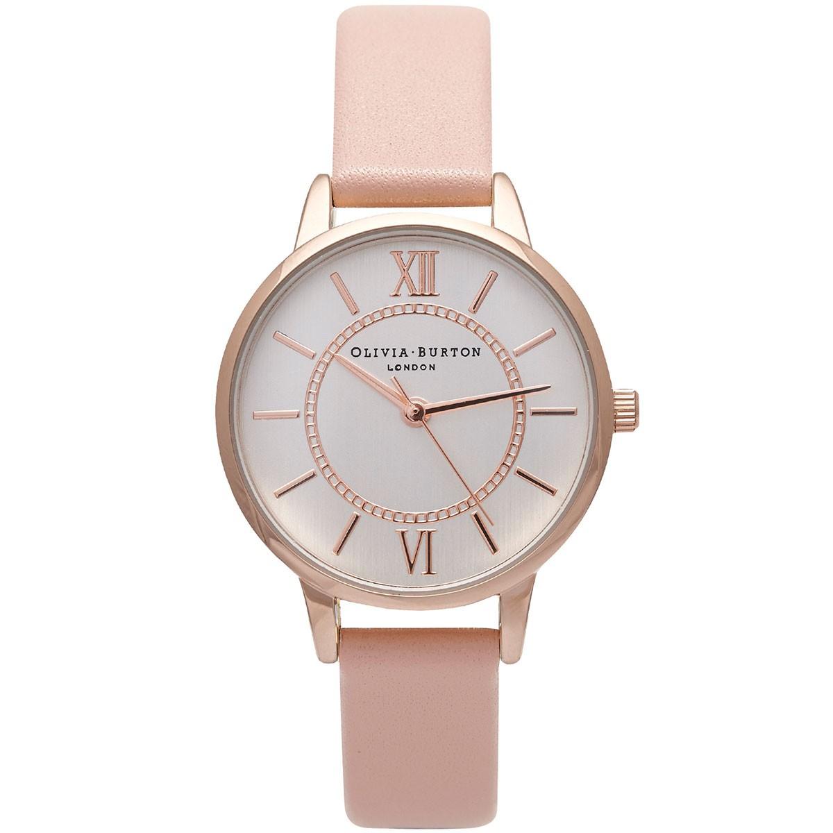 Đồng hồ kim nữ Olivia Burton OB15WD28 phối dây da hồng