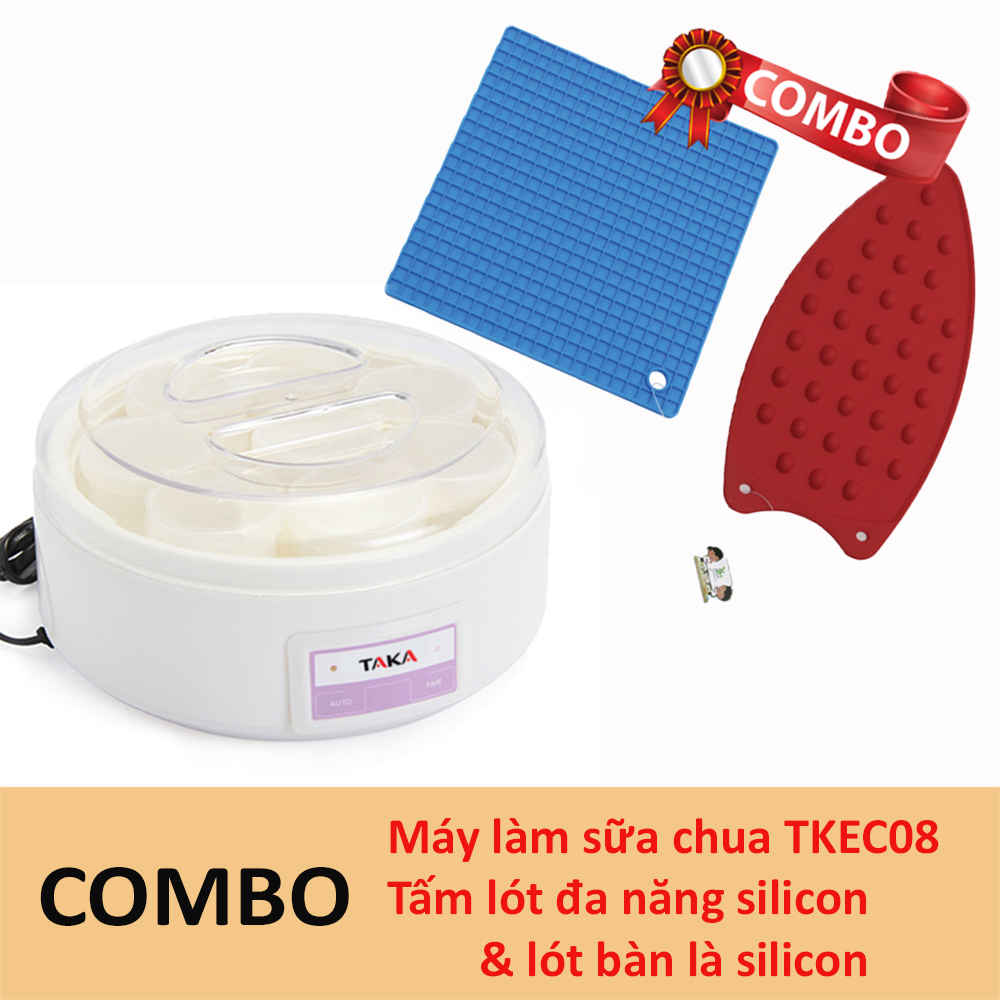 Combo máy làm sữa chua TKEC08 + Tấm lót đa năng + Tấm lót bàn là silicon Taka