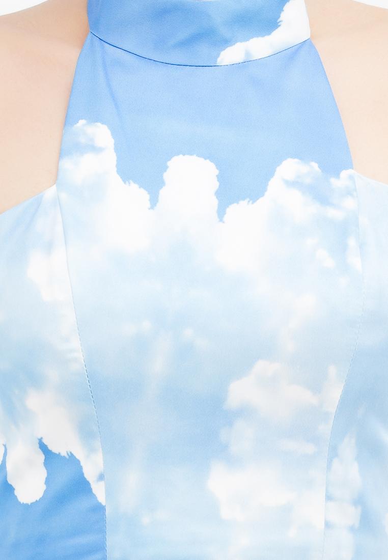 Đầm xòe Amun cổ trụ không tay in hình xanh da trời DX159-XANH