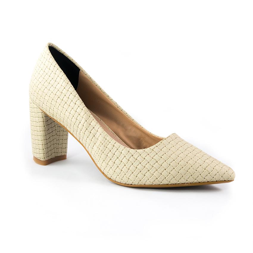 Giày cao gót trắng sọc Dolly & Polly