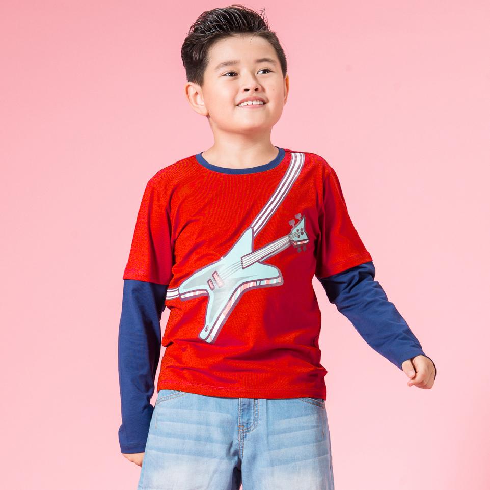 UN06 - Áo thun bé trai tay dài (đỏ cam)