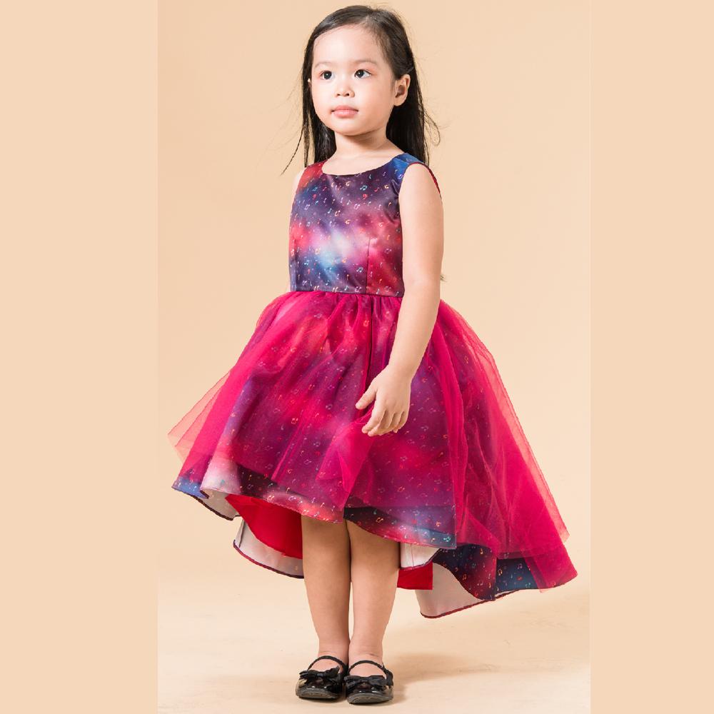 Đầm xòe bé gái lưới lệch tà Ugether UN25 (Hồng tím)