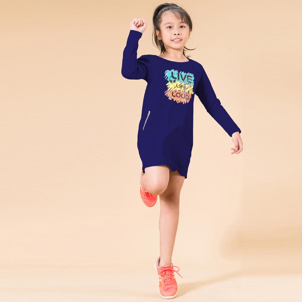 Đầm bé gái tay dài Ugether UN16 (Xanh)