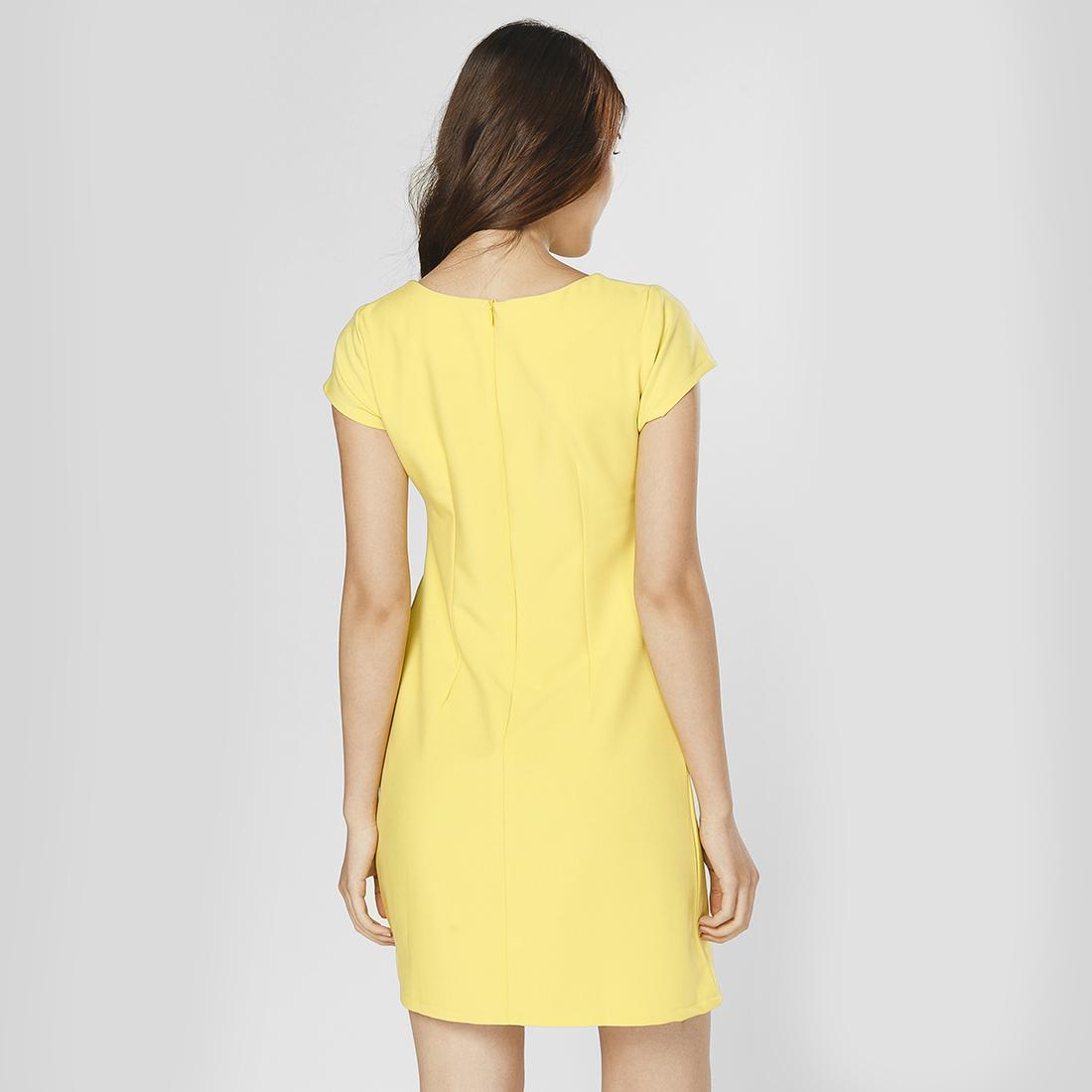 Đầm suông thời trang Eden họa tiết vẽ tay hoa nhí (vàng) - D226