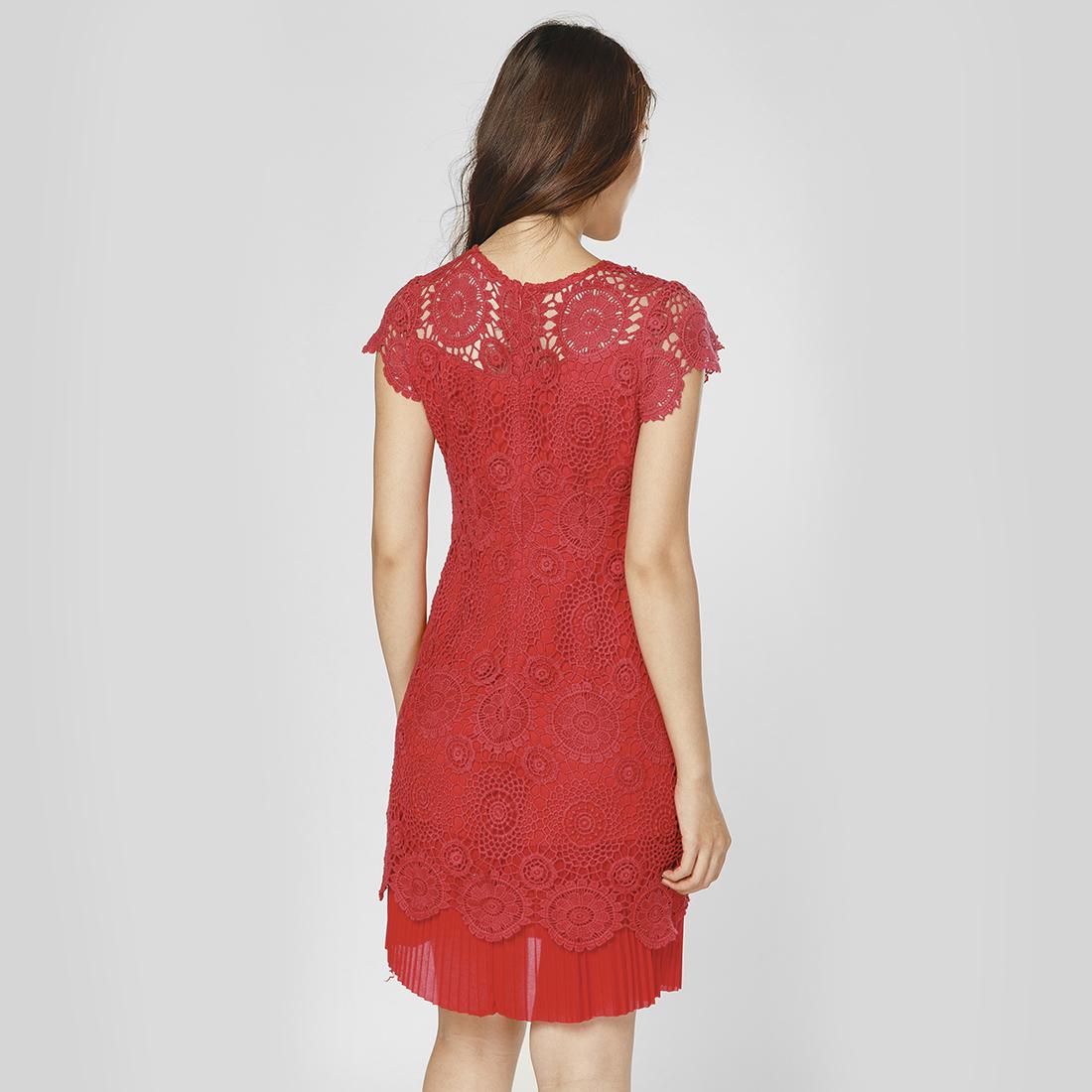 Đầm suông thời trang Eden ren hoa dập ly cao cấp (Đỏ) - D232
