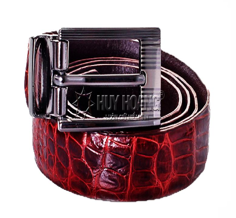 Thắt lưng nữ da cá sấu Huy Hoàng màu nâu đỏ  HV5202