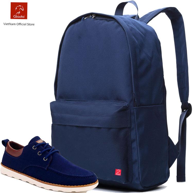 Balo laptop thời trang Glado cylinder BLC010 (Màu xanh) + Balo classical BLL002 ( Màu xanh)
