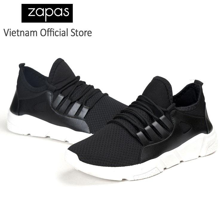 Combo giày sneaker thời trang nam Zapas GZ022BA (Đen Trắng) + Áo Bomber Jacket chống thấm nước (Màu đen)