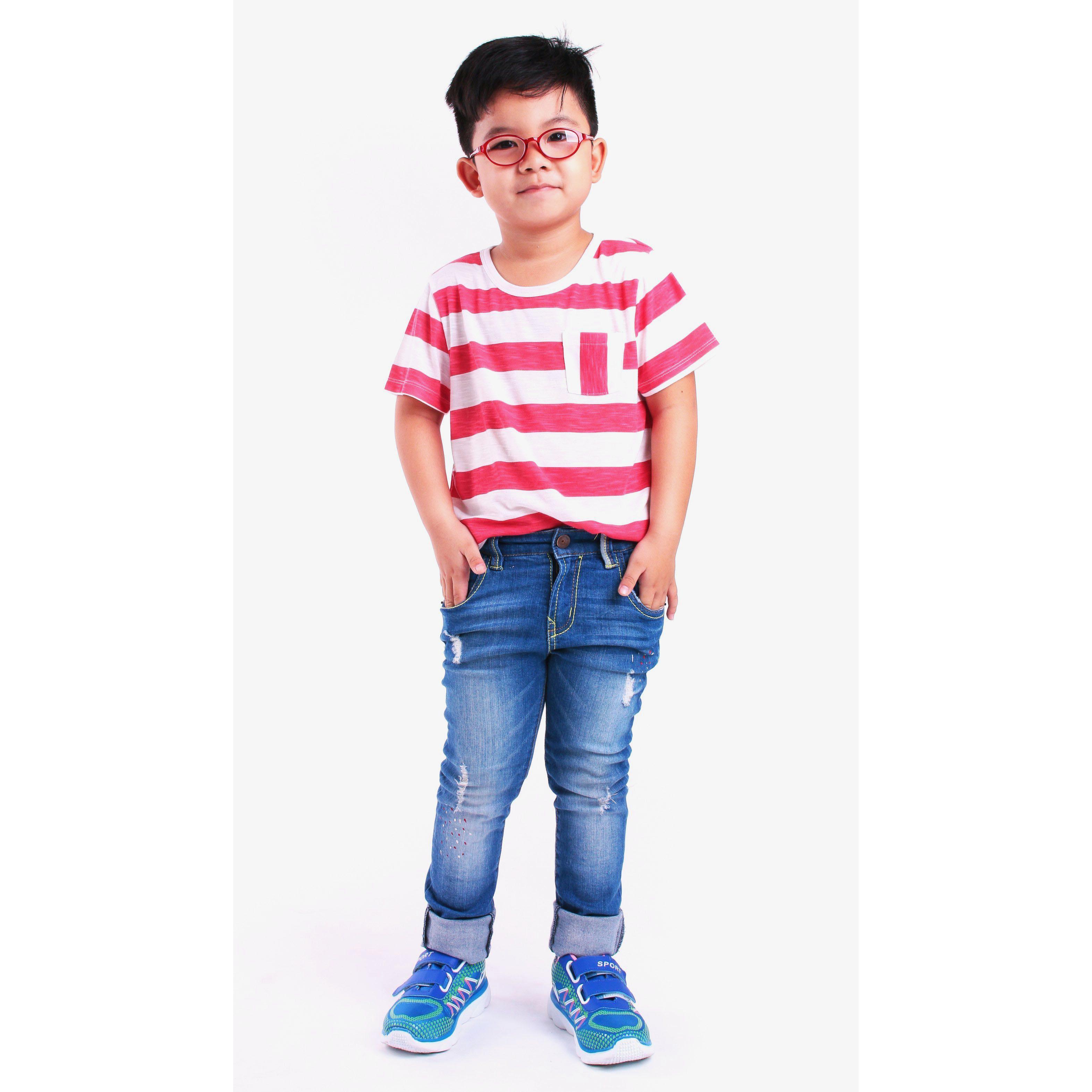 Áo thun bé trai Ugether UKID57 (Sọc đỏ)