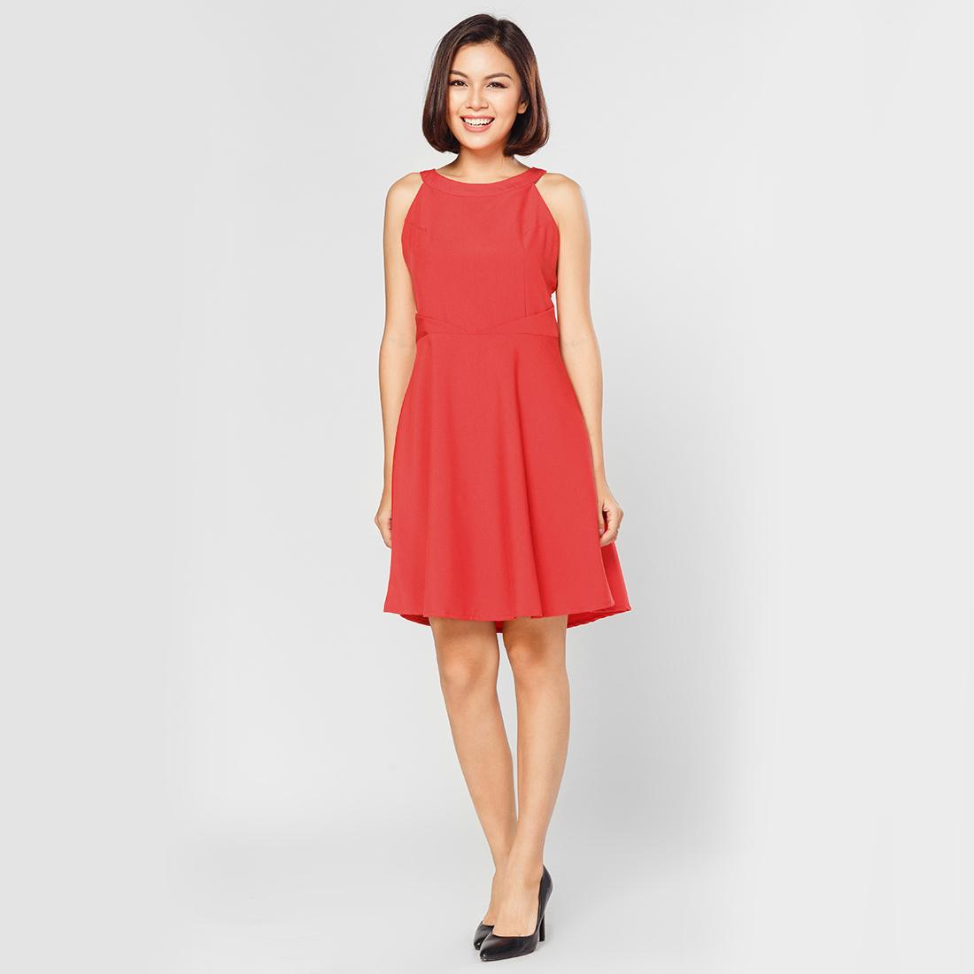 Đầm xòe thời trang Eden cổ yếm (đỏ)- D248D