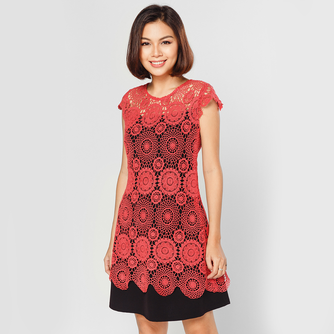 Đầm suông thời trang Eden phối ren cao cấp - D249