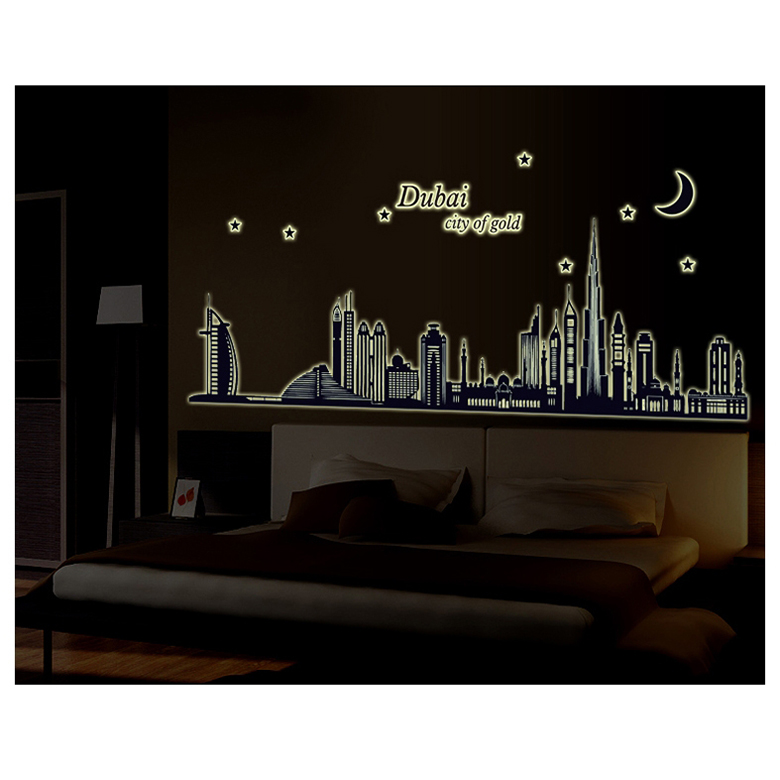 Decal dán tường thành phố Dubai dạ quang PK480