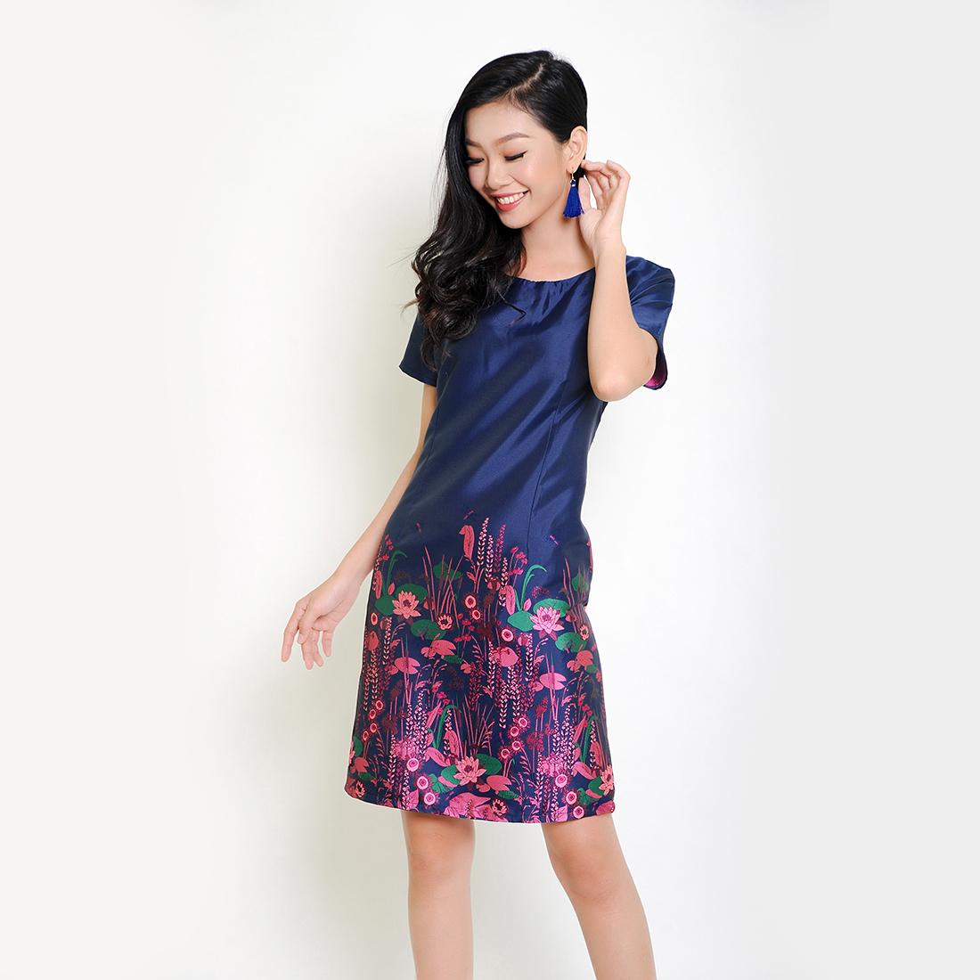 Đầm suông thời trang Eden in hoa cao cấp (Xanh) - D251
