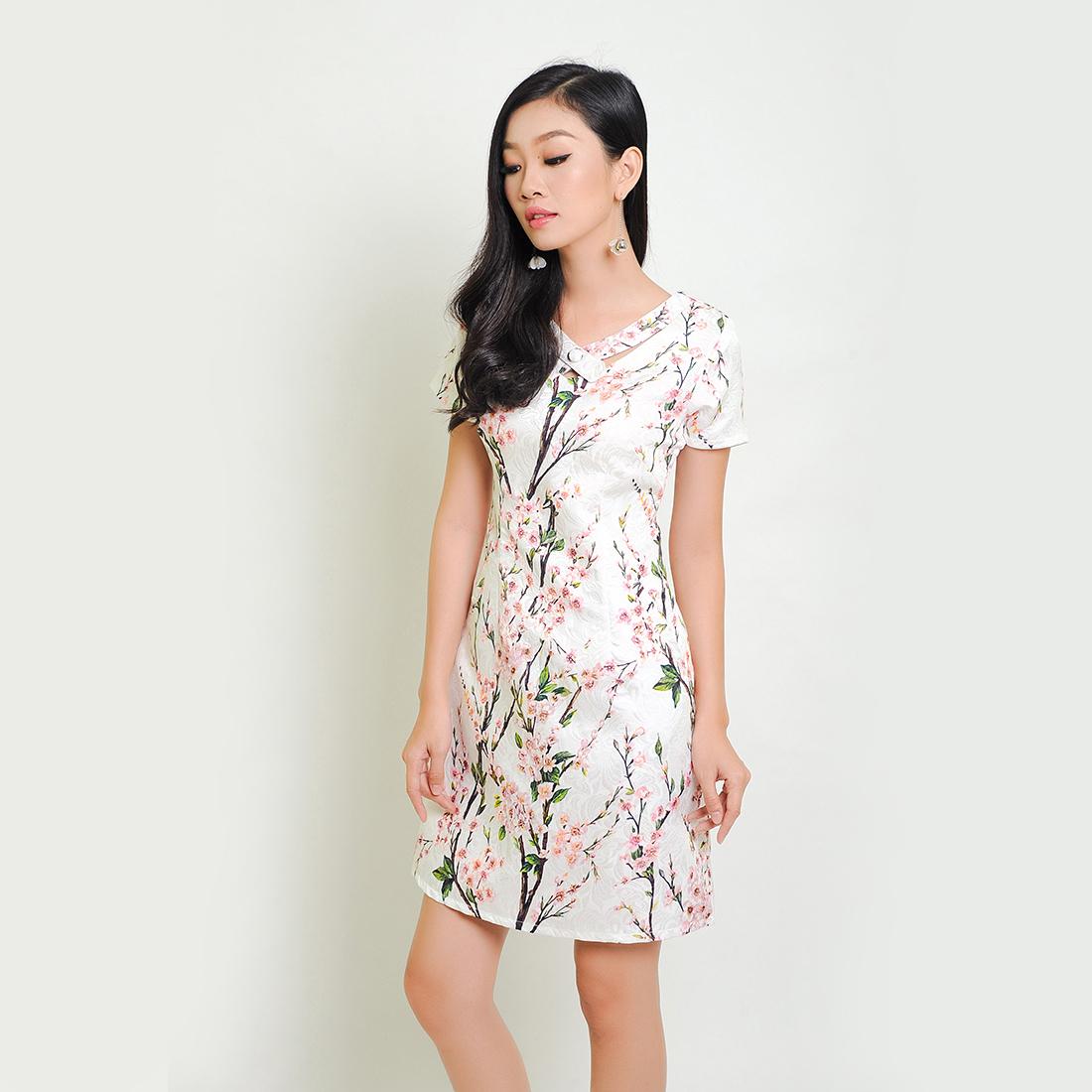 Đầm suông thời trang Eden gấm họa tiết hoa - D259