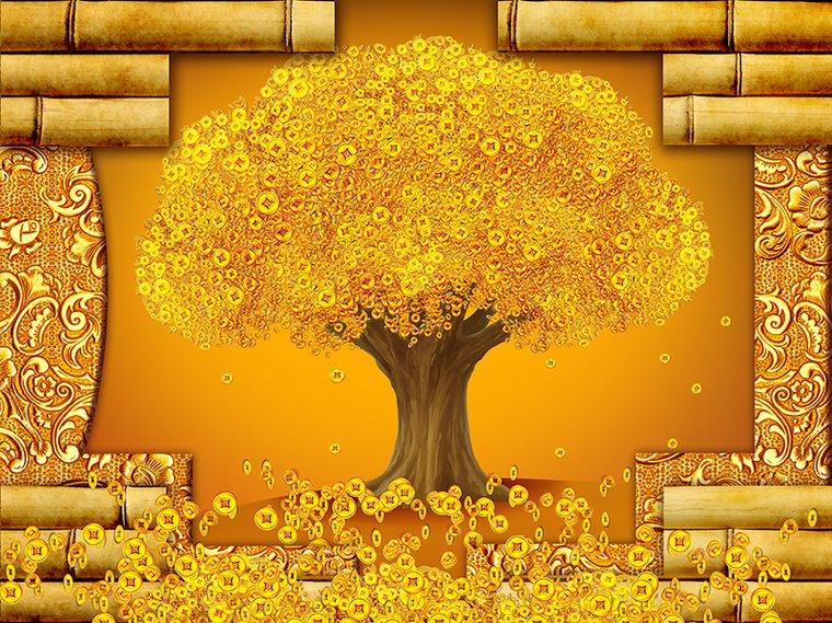 Tranh dán tường hoa đồng tiền vàng H09