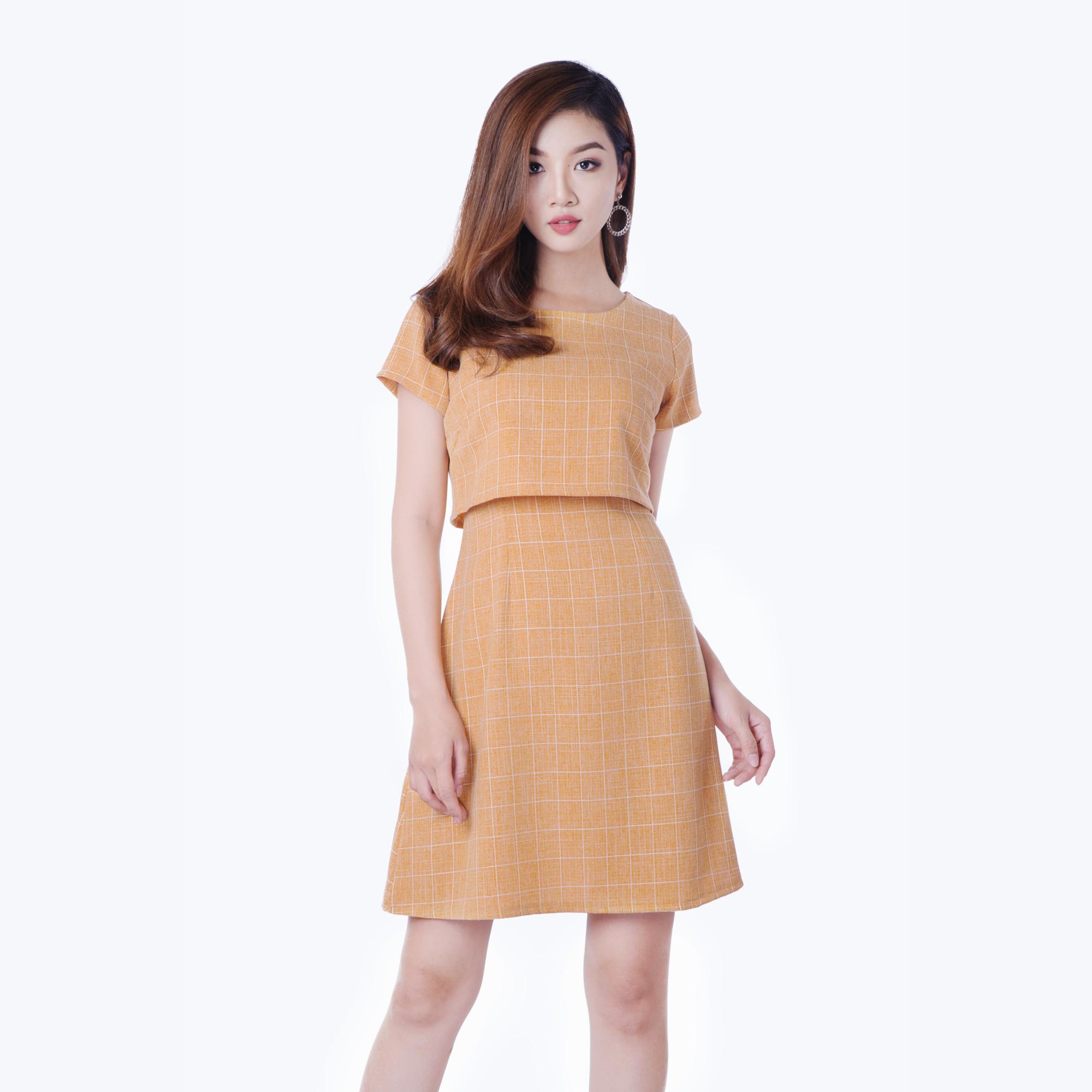Đầm phối áo croptop thời trang Eden (cam) d158