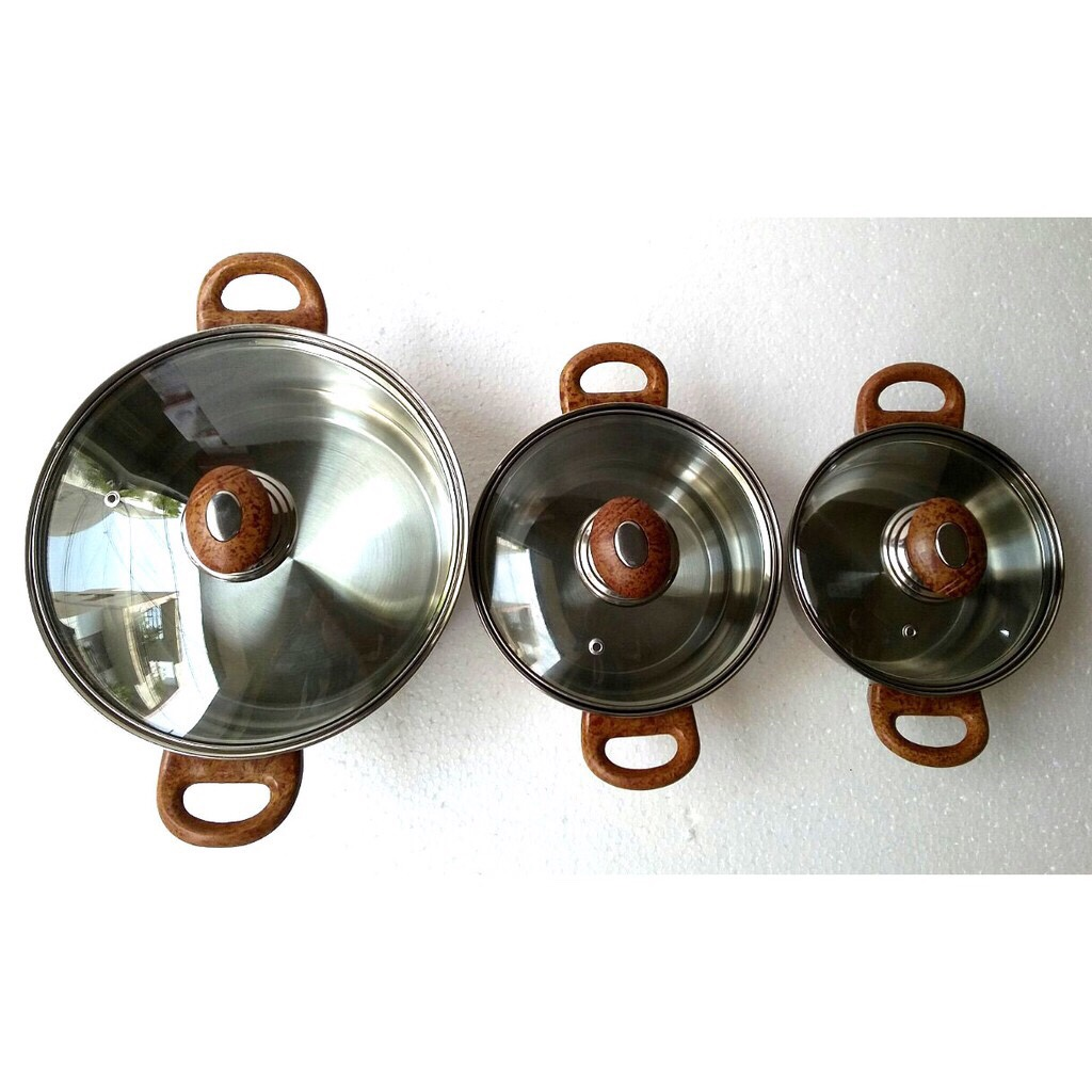 Bộ nồi inox  quai gỗ xuất khẩu 16-20-24cm.