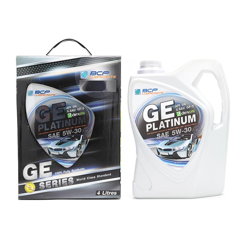 Nhớtô tô tổng hợp toàn phần 100% Thái Lan Nhập Khẩu - BCP GE PLATINUM - SAE 5W30 - API SN/ILSAC GF5 - 4L tặng dung dịch súc béc dầu Bcp Diesel Fuel Conditioner 200ml