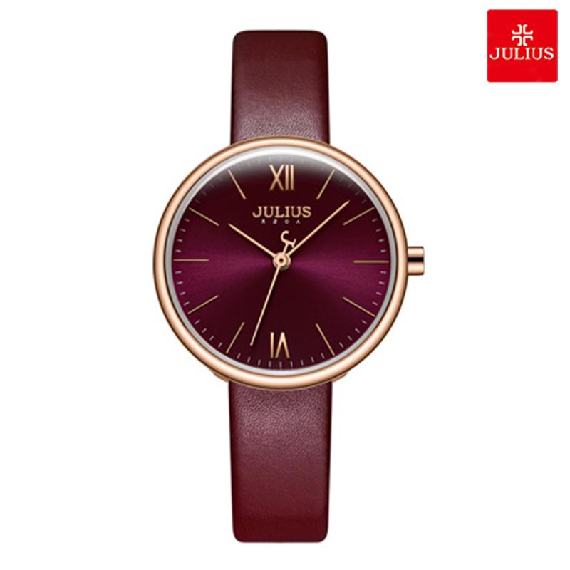Đồng hồ nữ Julius JA1116 dây da đỏ