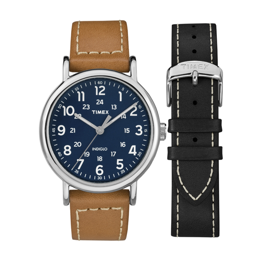 Đồng hồ nam Timex Weekender 40mm 2-Piece Leather Strap Watch Gift Set - TWG019200