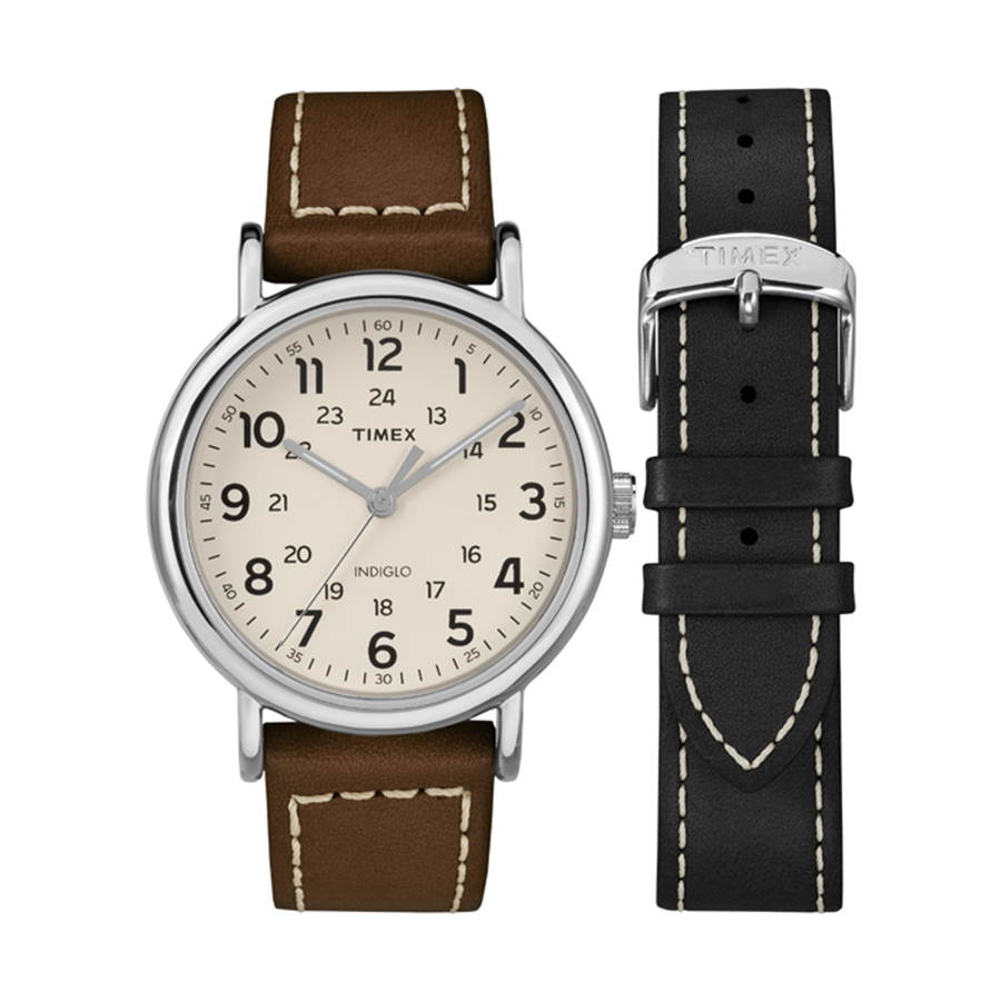 Đồng hồ nam Timex Weekender 40mm 2-Piece Leather Strap Watch Gift Set - TWG019100