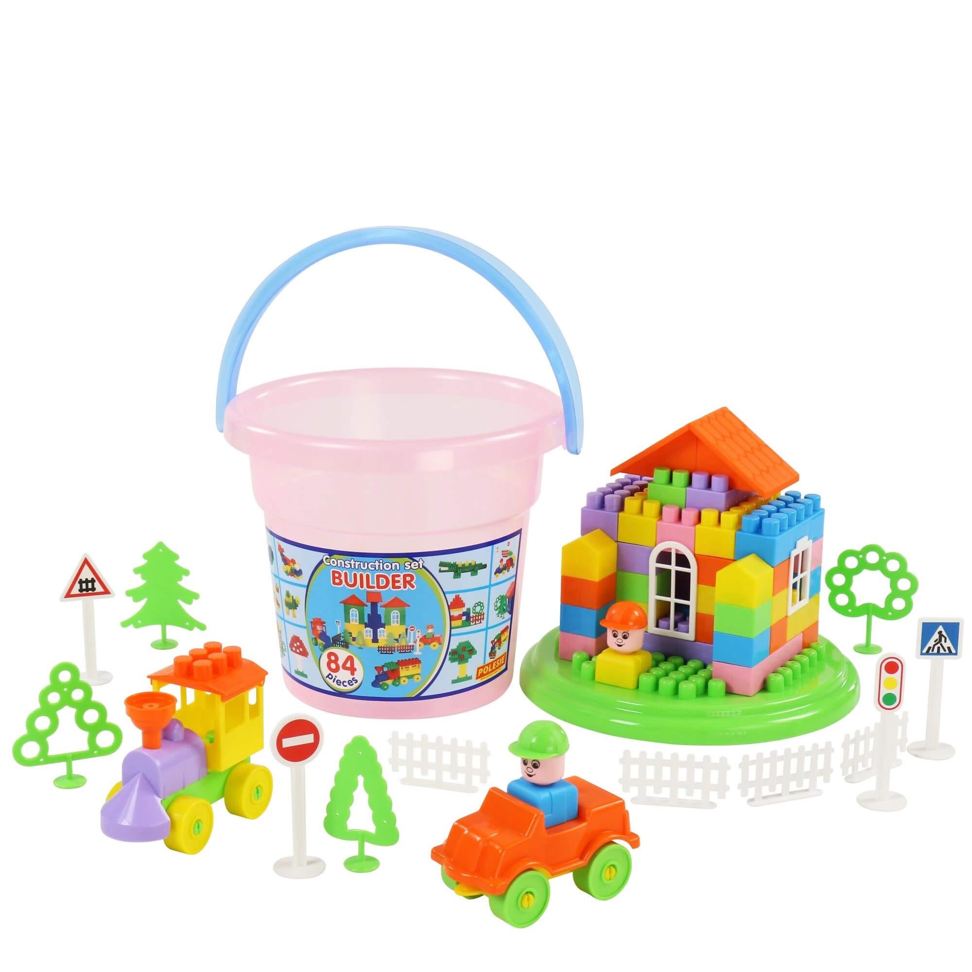 Bộ đồ chơi lắp ghép xây dựng kèm xô Maxi 84 chi tiết – Polesie Toys