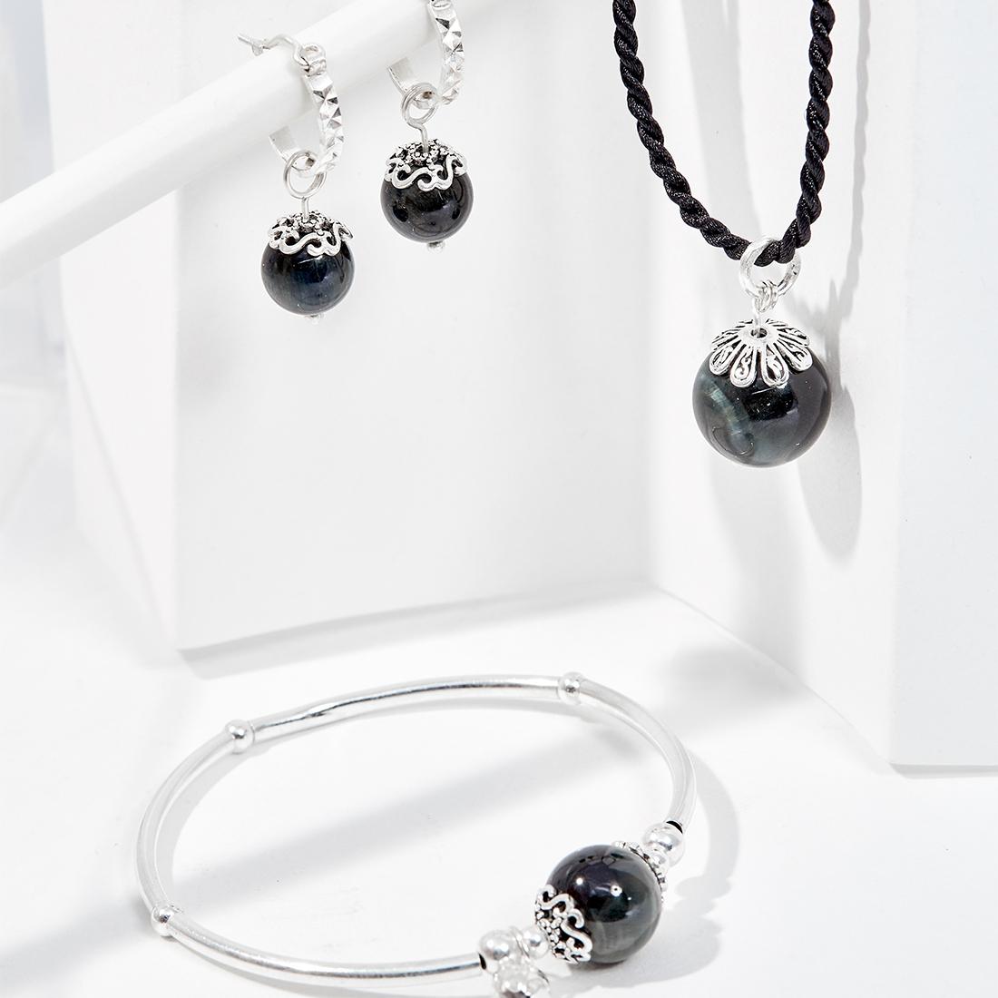 Bộ trang sức đá mắt hổ xanh đen thiên nhiên Ngọc Quý Gemstones