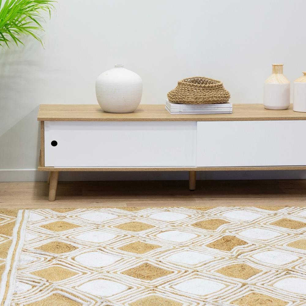 Tủ trang trí Blake gỗ tự nhiên màu trắng - Cozino