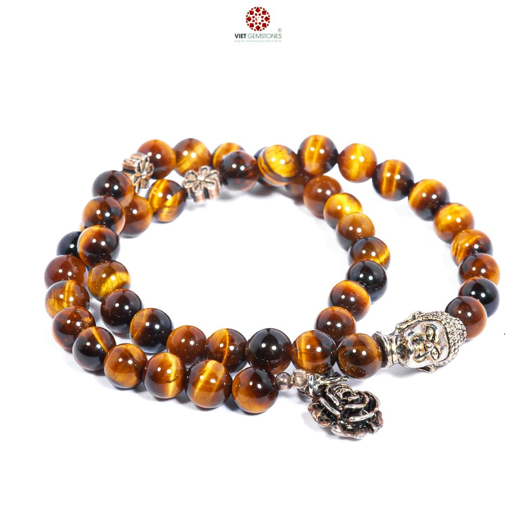 Vòng tay đá mắt hổ vàng double tour phối charm Phật bạc Thái - BTIGYDOM01 - Vietgemstones