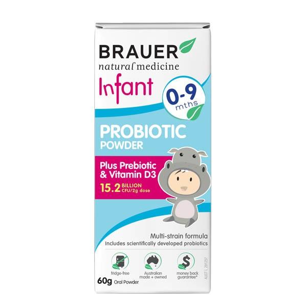 Men vi sinh Úc dạng bột dành cho trẻ từ 0 - 9 tháng tuổi (60g) - Brauer Probiotic Power