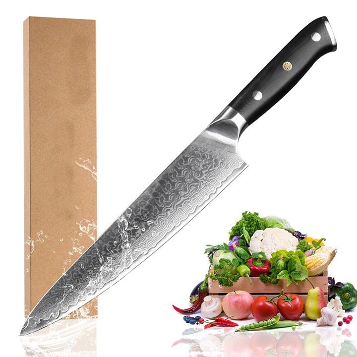 Dao bếp XYj thép VG10 Nhật Bản vân Damascus cán dao G10 cao cấp