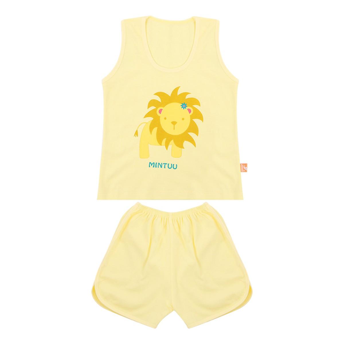 Bộ quần áo ba lỗ cho trẻ in màu Mintuu 522l