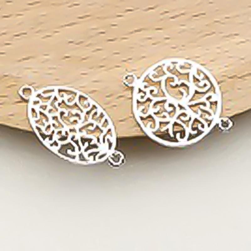 Charm bạc móc khóa hình trái xoan liên kết vòng tay, dây chuỗi