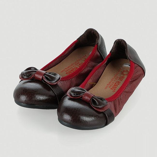 Giày trẻ em nữ Huy Hoàng da bò màu đỏ đô phối đen HV7863