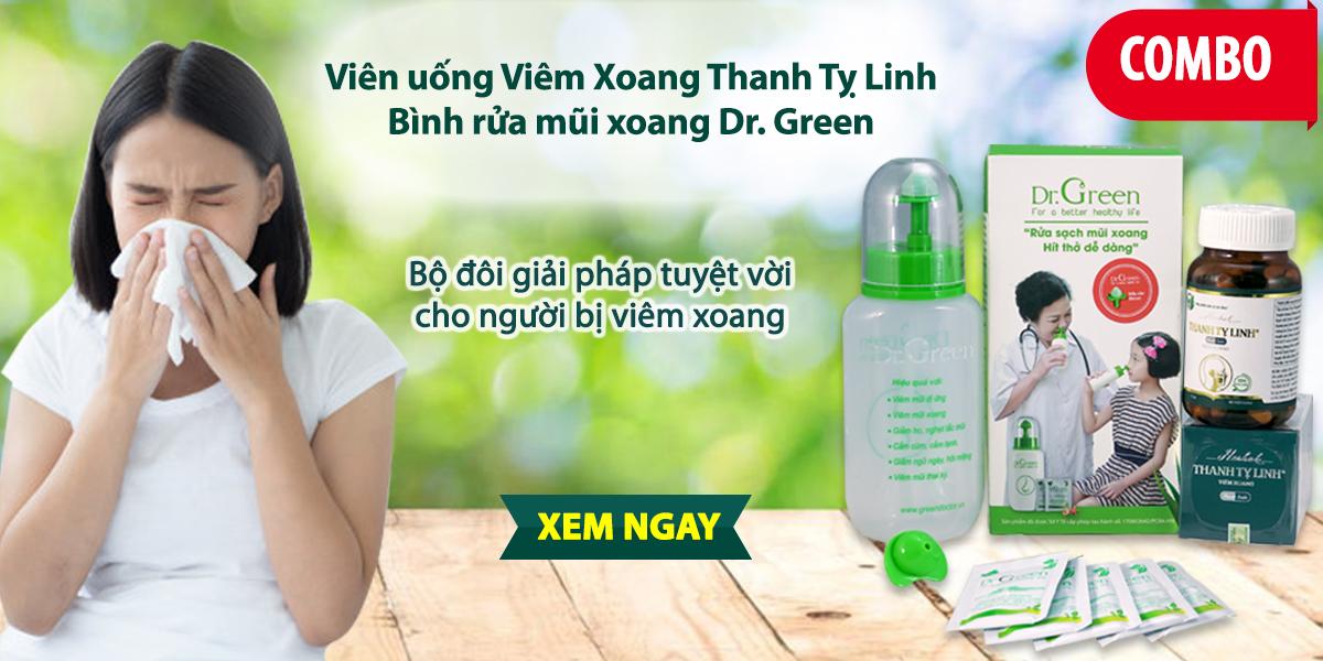 Combo viên uống Thanh Tỵ Linh và bình rửa mũi xoang Dr. Green hỗ trợ điều trị viêm xoang, viêm mũi dị ứng