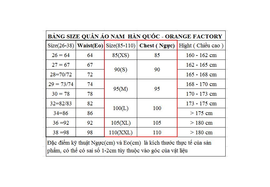 Quần kaki nam cao cấp Hàn Quốc Orange Factory UBT2PH1101-BL