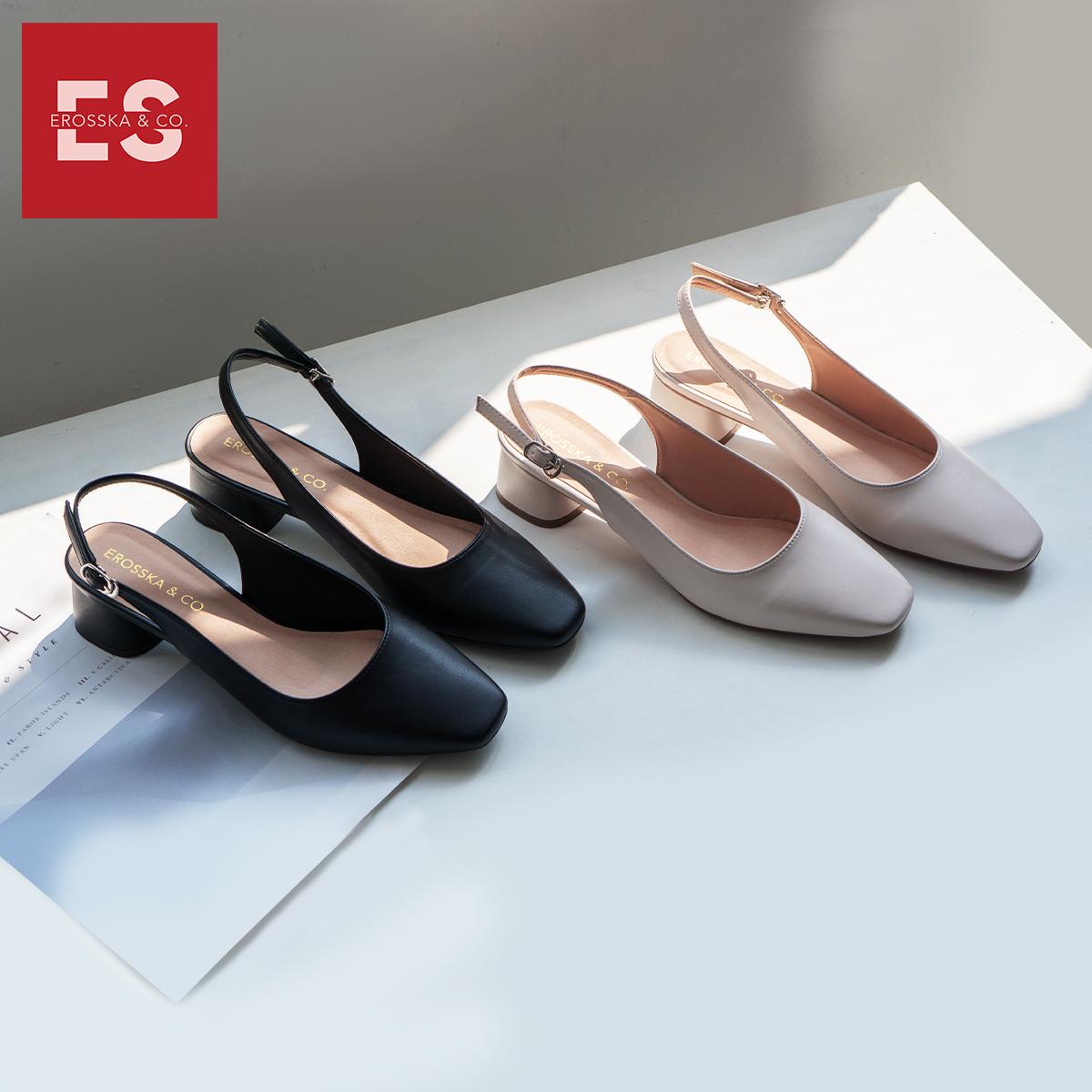 Giày nữ, giày cao gót thời trang Erosska mũi vuông phối dây quai mảnh kiểu dáng basic cao 5cm EL013 (màu nude)