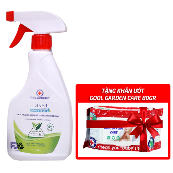 (New) Chai xịt diệt khuẩn, khử mùi dành cho gia đình ASFA HOME FRESH 500ml - Tặng khăn ướt GOOL GARDEN CARE 80gr