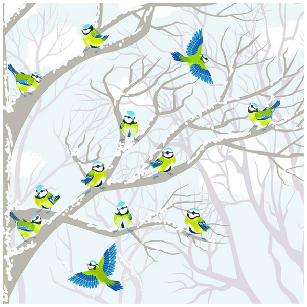 Tranh dán tường 3D đàn chim mùa đông