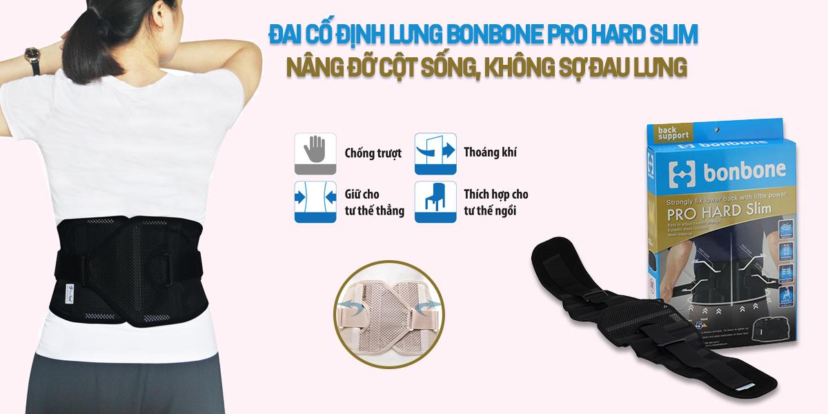Đai Cố Định Lưng Bonbone Pro Hard Slim Nhật Bản – Nâng Đỡ Cột Sống, Không Sợ Đau Lưng