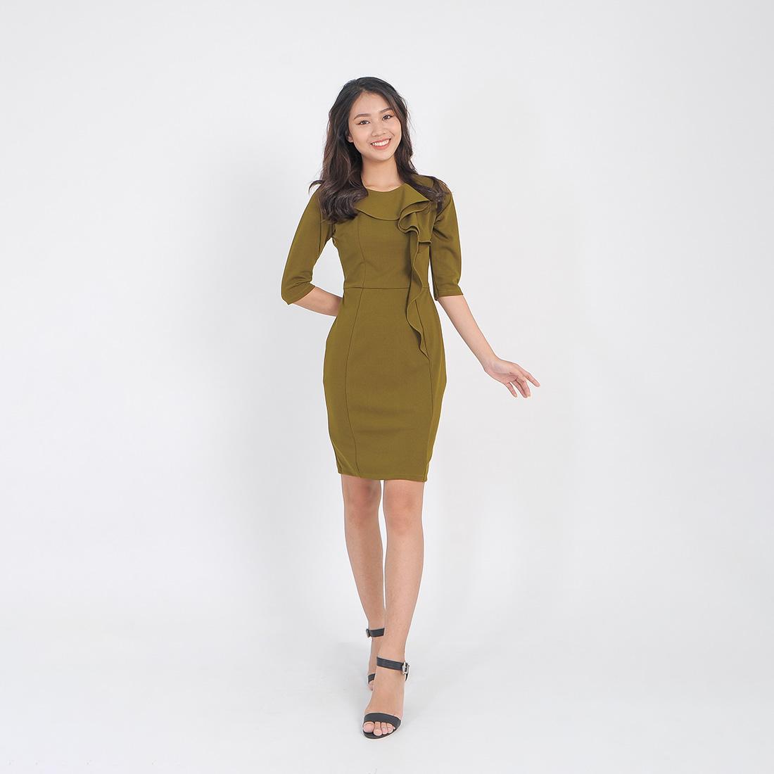 Váy đầm công sở thời trang Eden tay lỡ phối bèo cổ – D407