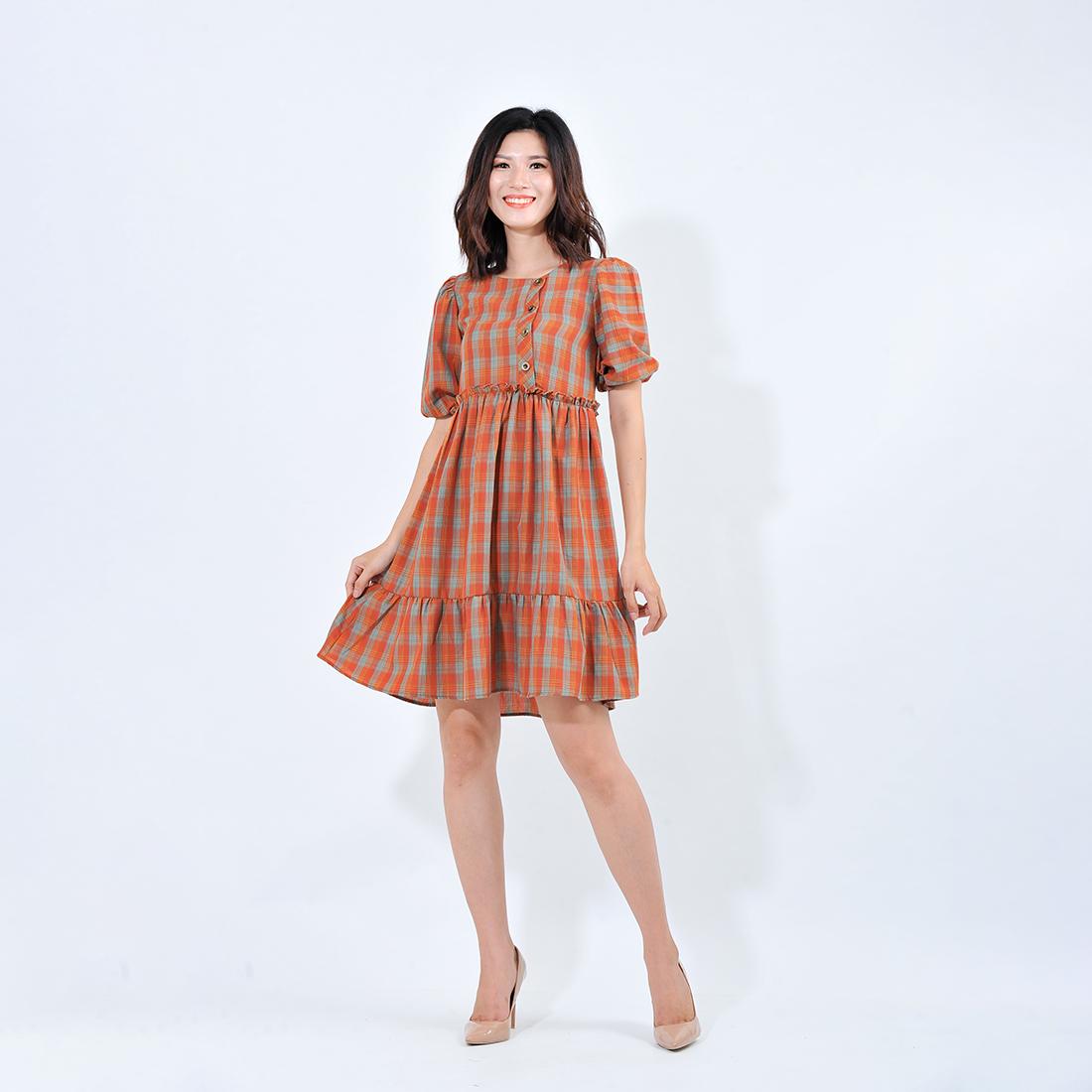 Váy đầm nữ thời trang Eden dáng baby doll kẻ ca ro – D412
