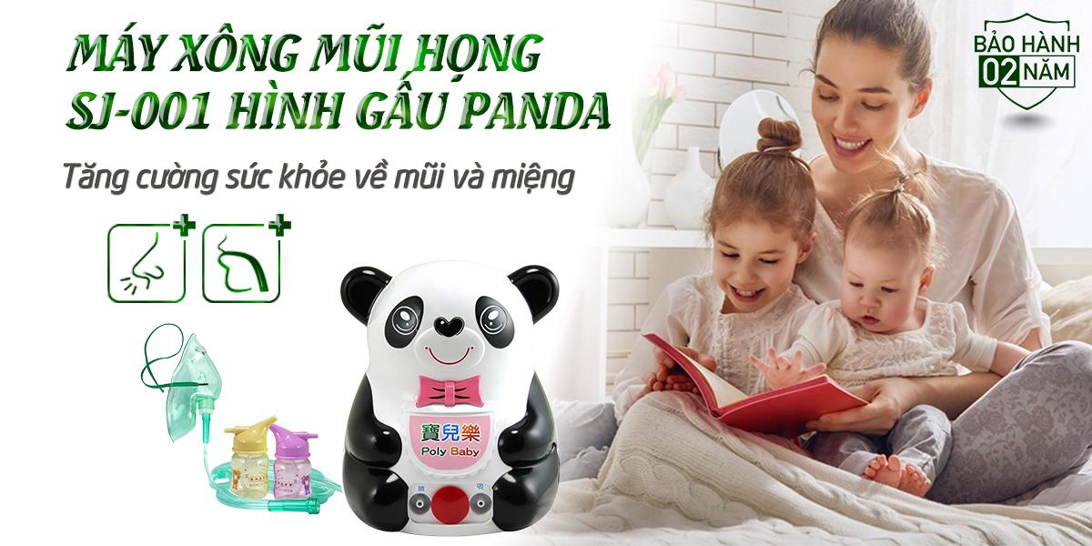 Máy xông khí dung Poly Baby SJ-001 hình gấu Panda đa chức năng có nhạc