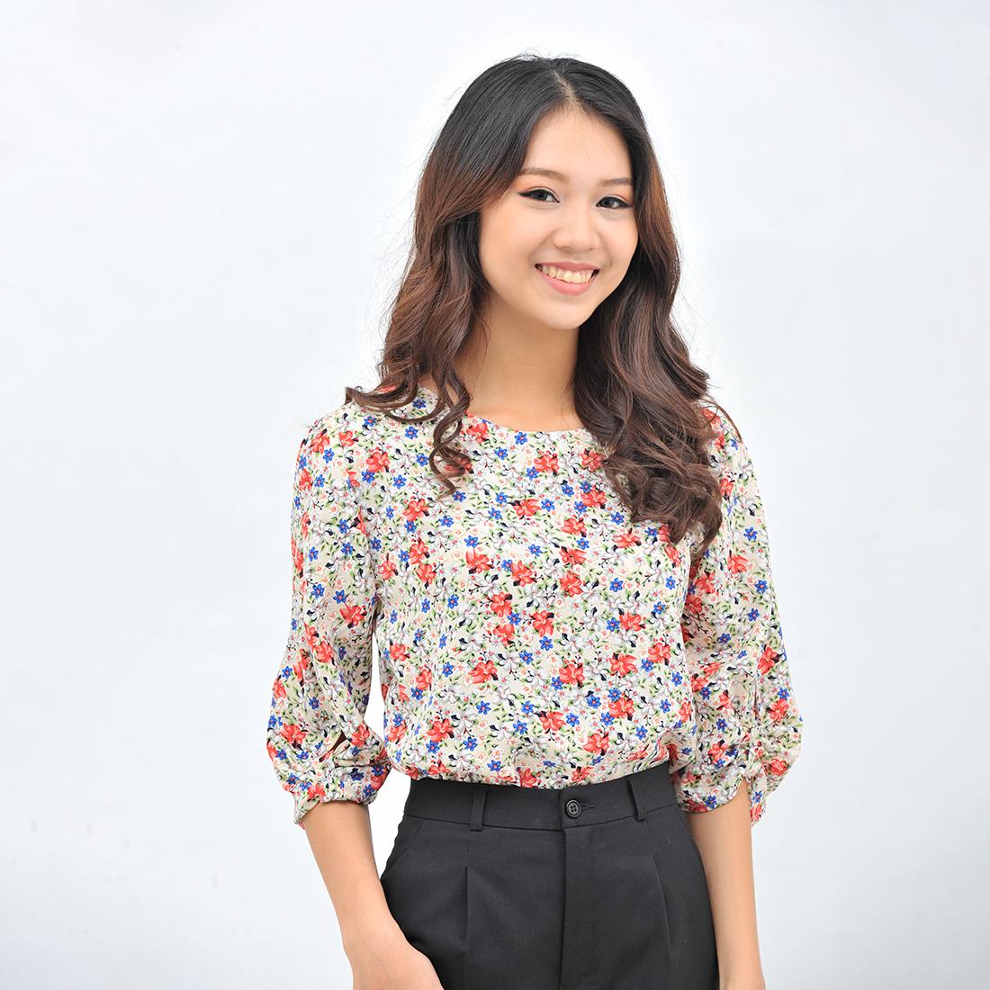Áo kiểu nữ thời trang Eden họa tiết hoa cổ tròn tay lỡ các điệu – ASM102